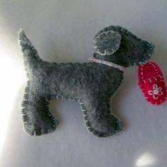 Charcoal Grey Dog Brooch Felt Dog Pin Wool by hart2hartdesigns, $15.00
