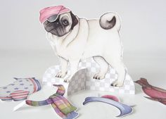 Paper doll dress up pug dog with clothes by JustLikePictures, Etsy Handmade Christmas Gifts, Christmas Gift Guide, Pug Love, Stocking Fillers, Paper Dolls, Pugs, French Bulldog, Dress Up, Stockings