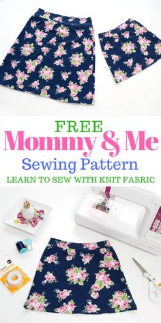 Learn how to sew mommy and me  skirts with this sewing tutorial, video and free PDF sewing pattern!