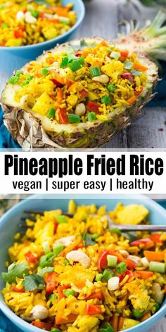 Thai pineapple fried rice is one of my favorite vegan dinner recipes or one. - Food -This Thai pineapple fried rice is one of my favorite vegan dinner recipes or one. Rice Recipes Vegan, Vegan Dinner Recipes, Vegan Dinners, Indian Food Recipes, Beef Recipes, Appetizer Recipes, Cooking Recipes, Healthy Recipes, Pineapple Dinner Recipes