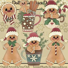 Never Enough Christmas Gingerbread 1 Clip Art Set, by Trina Clark - $1.00 at www.DollarGraphicsDepot.com : Great for Christmas crafts, greeting cards, scrapbook pages, gift boxes / bags, gift tags / labels, embroidery patterns, and much more!