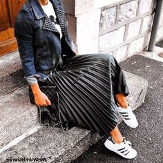 CLICK & BUY :) Black metallic pleated elastic high waist summer skirt metalic midi length black skirt outfit black leather jacket outfit wear to work outfit summer work outfit autumn work outfit black leather jacket casual outfit