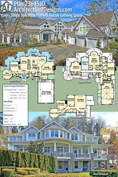 Plan Luxury Shingle Style House Plan with Multiple Gathering Spaces Architectural Designs Modern Craftsman House Plan gives you 5 beds, baths and over square feet of heated living space. The Plan, How To Plan, Modern Craftsman, Craftsman House Plans, Craftsman Interior, Craftsman Furniture, Dream House Plans, House Floor Plans, Large House Plans