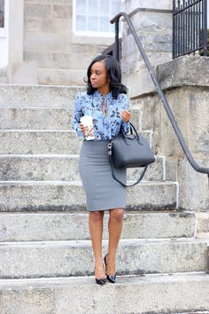 Floral j crew blouse, j crew pencil skirt, Louboutin heels, Givenchy bag, Starbucks Classy Work Outfits, Business Casual Outfits, Office Outfits, Work Casual, Cool Outfits, Business Attire, Outfit Work, Office Attire, Office Wear