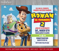 Toy Story Invitation Toy Story Woody Buzz Lightyear invitation