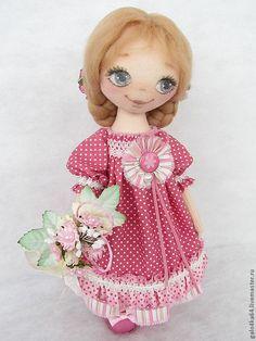 Купить Кукла МИЛА - розовый, текстильная кукла, текстильная игрушка, ручная работа, хэндмейд