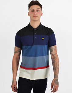 5d204db1 Lyle & Scott Engineered Striped Polo Shirt True Black. Terraces Menswear