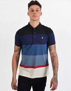 a18f3b46b Lyle & Scott Engineered Striped Polo Shirt True Black. Terraces Menswear