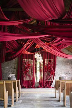 bellethemagazine: Burgundy Wedding Ideas That Will Take Your. bellethemagazine: Burgundy Wedding Ideas That Will Take Your Breath Away Wedding Draping, Wedding Ceremony Decorations, Ceremony Backdrop, Decor Wedding, Wedding Ideas, Red Wedding Receptions, Aisle Decorations, Geek Wedding, Wedding Souvenir