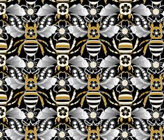Tribal Bee in Black, Gold, Silver fabric by hairpik on Spoonflower - custom fabric
