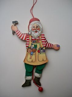 Workshop SANTA CLAUS Flat Wood Puppet Ornament - Pull String and Arms and Legs Go Up, 8.25 Inch  Unique Santa for Christmas tree!