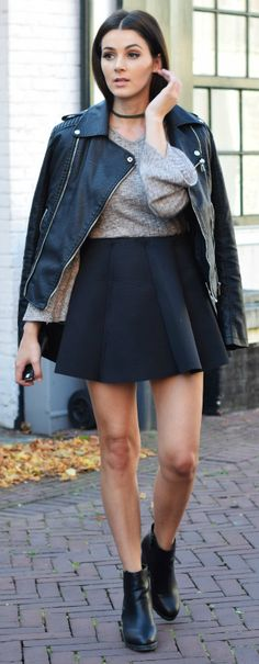 A leather jacket + perfect match + classic A line skirt + sweater combination + Mary Josephine + Chelsea boots + simple choker for instant chic.   Shoes: Comegetfashion, Skirt/Top: Choies, Jacket: Loavies.