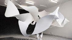 Richard Sweeney / Beta II installation / pleated paper / via jen Art Sculpture, Abstract Sculpture, Paper Sculptures, Land Art, Kirigami, Design Textile, Paper Engineering, 3d Studio, Paper Design