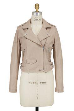 IRO - Beige Ashville Leather Moto Jacket | Shop Online