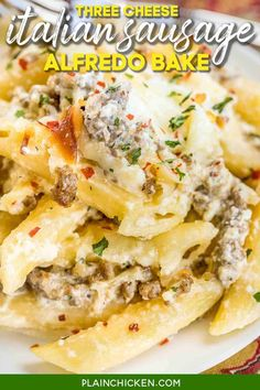 Three Cheese Italian Sausage Alfredo Bake - great make-ahead pasta dish. Penne pasta, alfredo sauce, sour cream, ricotta, garlic, Italian sausage, eggs, parmesan, and mozzarella cheese. SO good!! We make this at least once a month! Can freeze half for later. This is THE BEST pasta casserole we've ever eaten!!! #casserole #freezermeal #pasta #sausage #alfredosauce Pasta Alfredo, Alfredo Sauce, Cheese Sausage, Sausage Pasta, Penne Pasta Recipes, Pasta Dishes, Make Ahead Casseroles, Pasta Casserole, How To Cook Sausage