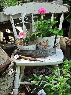 Jardim vintage. Jardim romântico.