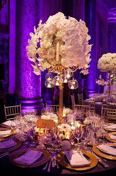 Luxury purple ballroom wedding reception; Featured Photographer: Fan Jiang