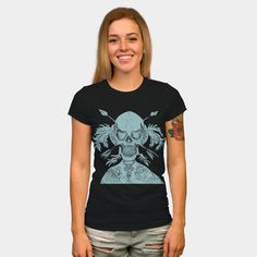 Indian Skull Green T Shirt By ElArrogante Design By Humans Indian Skull, Cowl Neck, Tank Man, Long Sleeve Tees, Plus Size, T Shirts For Women, Pullover, Hoodies, Woman