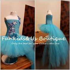Sky Blue High Low  Fluffy Tutu Dress with by FunkidsandUsBoutique