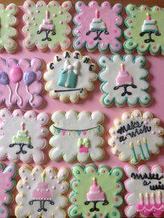 Decorated Scalloped Square Birthday Cake Cookies Decorated Birthday cookies for my dear friend Elaine...
