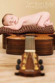 Baby girl and her Dad's guitar!  Go, Keri!  Newborn photography