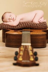 Baby girl and her Dad's guitar!  Go, Keri!  Newborn photography
