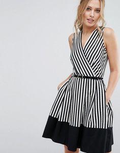 Closet London Closet Wrap Front Skater Dress In Stripe With Belt - Dresses - Simple Dresses, Casual Dresses, Summer Dresses, Tall Dresses, Party Dresses, Belted Dress, Striped Dress, Dress Skirt, Wrap Dress