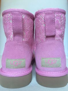 Authentic UGG Classic Mini Lace Sheepskin Boots Lipgloss Pink NEW Womens US7  #UGGAustralia #AnkleBoots