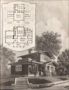 1920 Airplane Bungalow - American Residential Architecture - 1920s House Plans - William A. Radford - American Builder