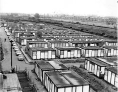 Rows of WWII era pre-fabs at Stoneyard Lane, Poplar, East London.