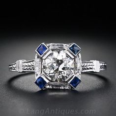 .71 Carat Diamond and Sapphire Art Deco Engagement Ring - 10-1-4500 - Lang Antiques