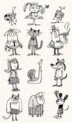 Fred Blunt Doodles ★★★ Find More inspiration ★★★ … Children's Book Illustration, Character Illustration, Cartoon Drawings, Cartoon Art, Desenho Kids, Sketch Manga, Doodle Characters, Cartoon Characters, Pen Doodles