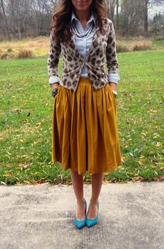Mustard skirt, turquoise flats, jean shirt and printed cardigan