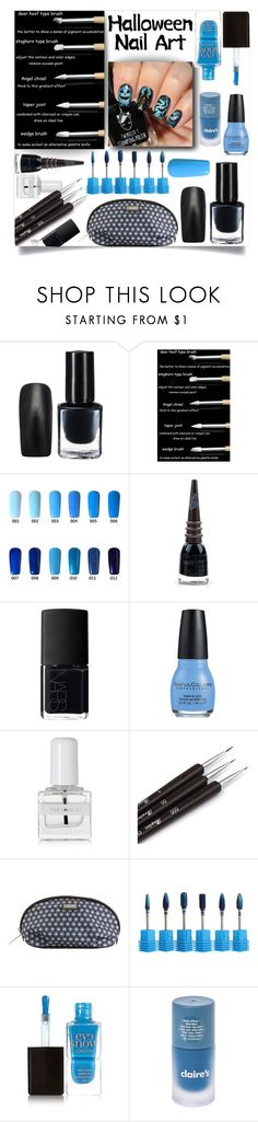 """Halloween Nail Art 2017"" by nansgd ❤ liked on Polyvore featuring beauty, Manic Panic NYC, NARS Cosmetics, tenoverten, Hadaki, Eve Snow, Halloween, nailart, blackandblue and beautyset"