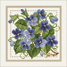 Free Pattern - February - Violet, Project 2010 - Flower of the Month, designed by Ellen Maurer-Stroh, from EMS Cross Stitch Design. Free Cross Stitch Charts, Cross Stitch Kits, Cross Stitch Designs, Cross Stitch Patterns, Cross Stitch Embroidery, Embroidery Patterns, Cross Stitch Flowers, Cross Stitching, Blackwork