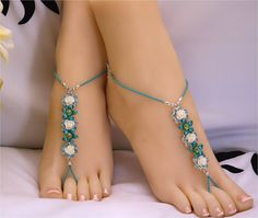 Blue Turquoise Teal White Rose Flower Barefoot by MelekDesigns, $29.00