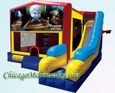 Casper the Friendly Ghost on this 7 in 1 combo bounce house. Invite all your friends for a spook filled night.