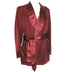 1940s burgundy silk smoking jacket, size medium | Vintage Clothing | Kakkoii Mono