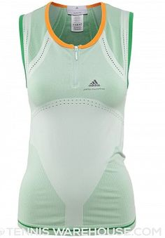 adidas Women's Stella McCartney Spring Seamless Tank 2014 http://www.womenstennisblog.com/2014/02/12/green-spring-2014-stella-mccartney-tennis-fashion/