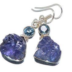"""Ana Silver Co Rough Tanzanite, Blue Topaz 925 Sterling Silver Earrings 1 1/2"""" EARR346829"""