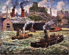 Hoboken Waterfront, 1930, Ernest Lawson. American Impressionist Painter, born in Canada (1873 - 1939)