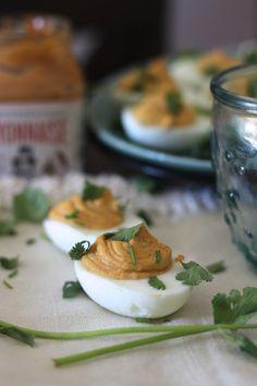 PaleOMG Cilantro Chipotle Deviled Eggs