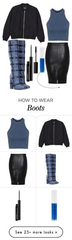 """Blue boots"" by princessfetty1738 on Polyvore featuring Tom Ford, Monki, Topshop, MAC Cosmetics, NARS Cosmetics, women's clothing, women, female, woman and misses"