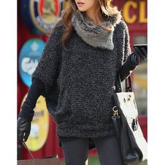 Fashionable Turtle Neck With Fur Loose-Fitting Batwing Sleeve Sweater For Women Fall Outfits, Fashion Outfits, Womens Fashion, Trendy Outfits, Girly Outfits, Fashion Pics, Fashion Sale, Petite Fashion, Fashion Trends
