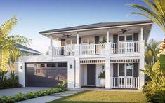 Coastal Style Homes Home Design, Small Beach Houses, Plantation Style Homes, Hawaii Homes, Storey Homes, Facade House, House Facades, Hamptons House, Florida