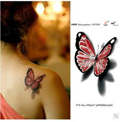 Aliexpress.com : Buy Tatuagens de borboletas adesivos tatuagem adesivos tatuagem de simulação afixada cor 3D adesivos tatuagem from Reliable etiqueta do prego suppliers on The leaves of sweet