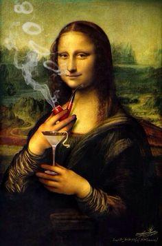 Mona Lisa holding a martini & smoking a pipe art