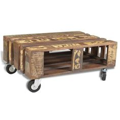 Antique Style Coffee Table Wheels Reclaimed Wood Handmade Storage Multi-colored #Handmade #AntiqueStyle