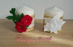 Federica Bijoux : Candele piccole personalizzate con roselline rosse...