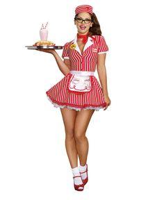 Diner Doll Waitress Retro Womens Costume - Dreamgirl 9975 фото